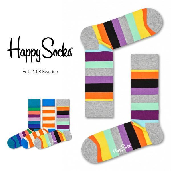 Happy Socks ハッピーソックス STRIPE ( ストライプ ) クルー丈 綿混 ソックス 靴下 ユニセックス メンズ&レディス 1A113030|glanage