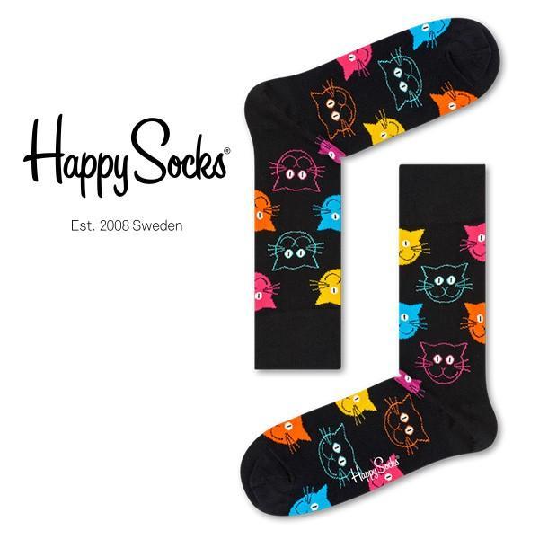 Happy Socks ハッピーソックス CAT ( キャット ) クルー丈 綿混 ソックス 靴下 ユニセックス メンズ&レディス 1A113039 glanage