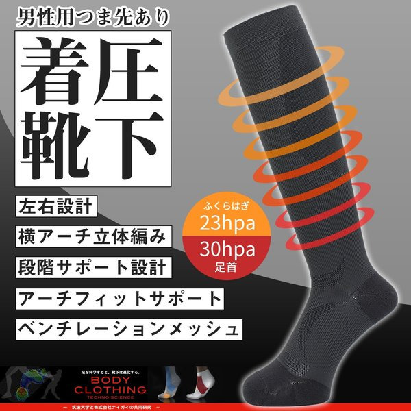 着圧ハイソックス 男性用 ナイガイ BODY CLOTHING(ボディクロージング) アーチフィットサポート メンズ 靴下 2252-950 ポイント10倍|glanage
