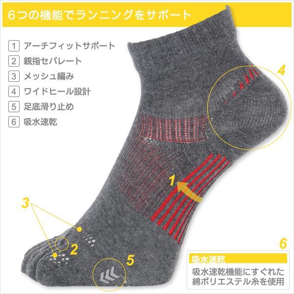ランニング 5本指 吸水速乾 メンズ 靴下 NAIGAI PERFORMANCE ナイガイ パフォーマンス メッシュ編み ショート丈 ソックス 2332-201|glanage|02