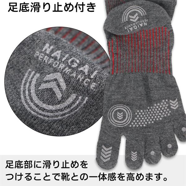 ランニング 5本指 吸水速乾 メンズ 靴下 NAIGAI PERFORMANCE ナイガイ パフォーマンス メッシュ編み ショート丈 ソックス 2332-201|glanage|09
