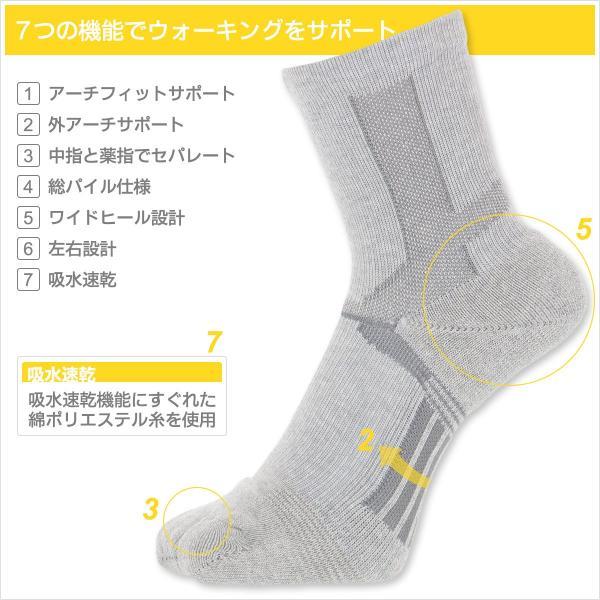 ウォーキング 2本指 足袋型 メンズ 靴下 NAIGAI PERFORMANCE ナイガイ パフォーマンス 総パイル仕様 クルー丈 ソックス 2332-206|glanage|02