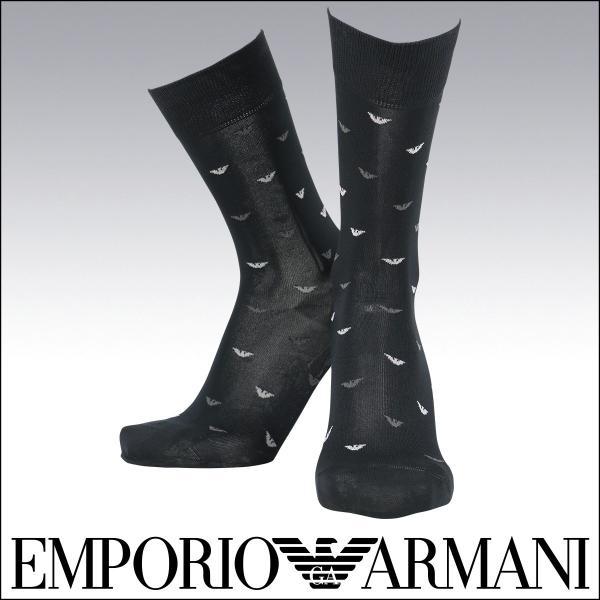 EMPORIO ARMANI エンポリオ アルマーニ 綿混 メンズ カジュアル ソックス 靴下 イーグルロゴ ドット クルー丈 ソックス ポイント10倍|glanage