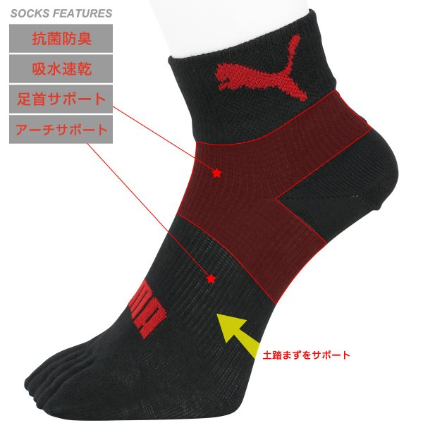 PUMA プーマ 5本指 パフォーマンスソックス 3足組 メンズ 抗菌防臭 アーチサポート 高機能靴下 ショート丈 靴下 ポイント10倍|glanage|05