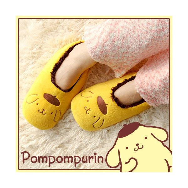 pompompurin(ポムポムプリン) プリントフェイス ルームシューズ 3766-318 通販 ルームシューズ 暖かい かわいい 防寒 冬用 ポイント10倍|glanage
