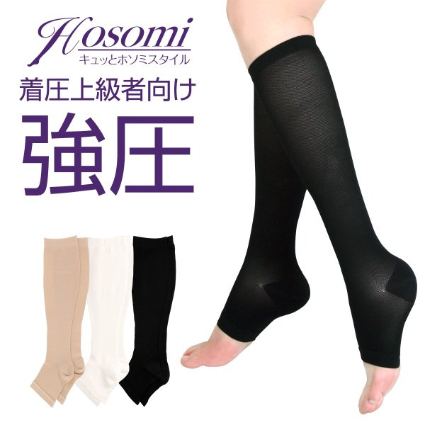 着圧ソックス つま先無し 強圧 弾性ストッキング 当店オリジナル 足のむくみ 女性 靴下 ふくらはぎ30hpa 足首40hpa