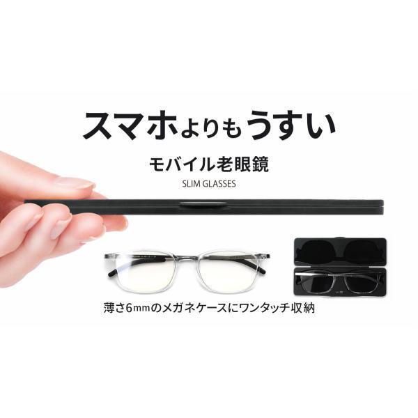 超薄型 超軽量 モバイル老眼鏡 スリムグラス SL-R51 ブルーライトカット レターパック送料無料