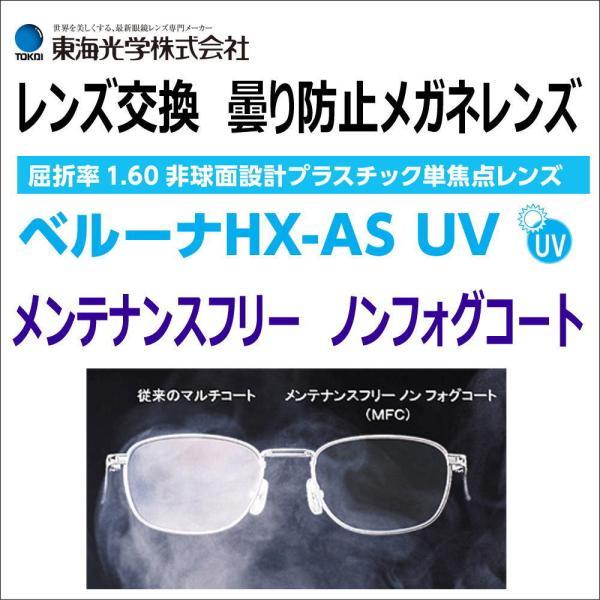 レンズ交換用 曇り防止メガネレンズ マスク 曇り止め 東海光学 ベルーナHXASUV 1.6h非球面HMCレンズ 2枚1組