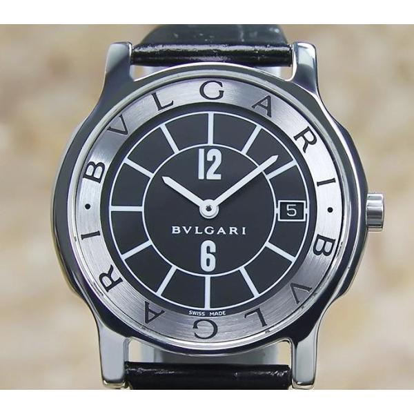 the latest dd034 b2240 仕上げ済み ブルガリ BVLGARI ソロテンポ メンズ腕時計 中古 ブラック ST35S クオーツ