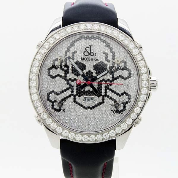 JACOB&Coジェイコブファイブタイムゾーンスカルダイヤモンド(純正品)JC-SKULLD〔腕時計〕〔新品〕〔メンズ〕