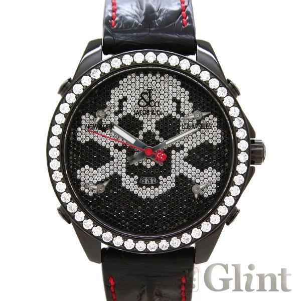 JACOB&Coジェイコブファイブタイムゾーンスカル世界55本 JC-SKULL9(純正品)〔純正ダイヤモンド〕〔腕時計
