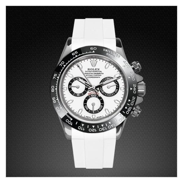 RUBBERBロレックスデイトナオイスターブレスレットモデル専用ラバーベルト ホワイト  ROLEXバックルを使用 ※時計バック