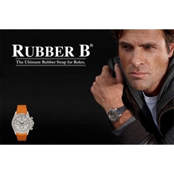 RUBBERB ロレックス デイトナ オイスターブレスレットモデル専用ラバーベルト【ホワイト】【ROLEXバックルを使用】※時計、バックルは付属しません