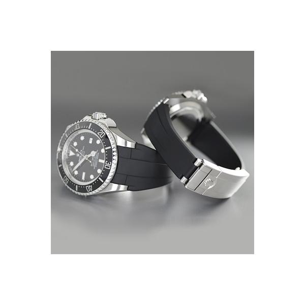 RUBBERB ロレックス ディープシー(Ref.116660)専用ラバーベルト【ブラック】【ROLEXバックルを使用】※時計、バックルは付属しません【大きな駒を不使用】