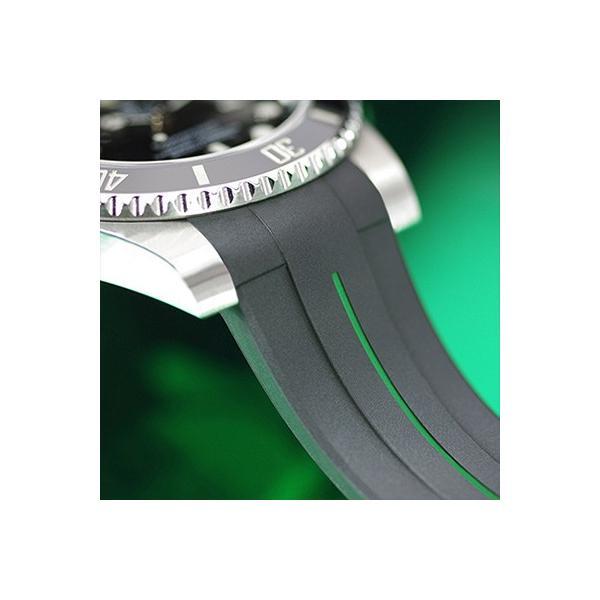 RUBBERB ロレックス エクスプローラーI専用ラバーベルト【ブラック×グリーン】【ROLEXバックルを使用】※時計、バックルは付属しません(2010年以降対応)
