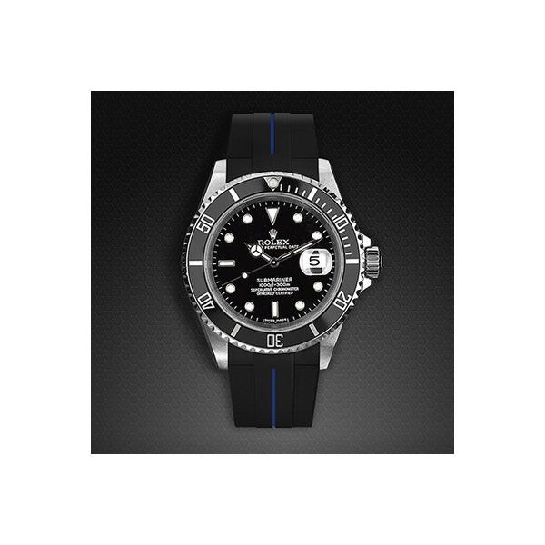 RUBBERB ロレックス サブマリーナ専用ラバーベルト【ブラック×ブルー】【ROLEXバックルを使用】※時計、バックルは付属しません