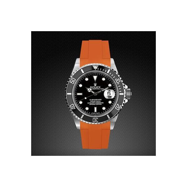 RUBBERB ロレックス サブマリーナ(Ref.14060)専用ラバーベルト【オレンジ】【尾錠付き】※時計は付属しません