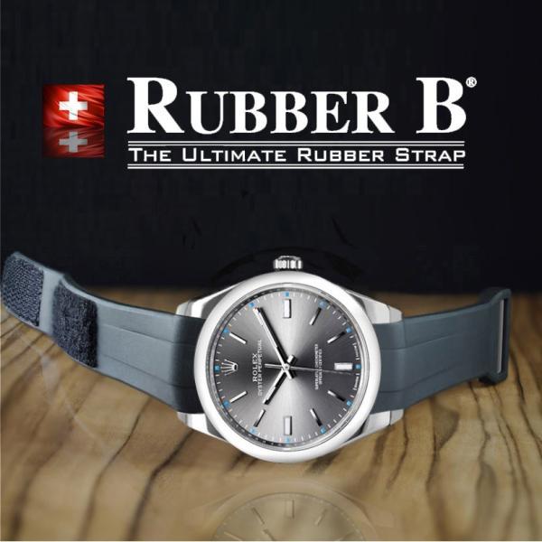the best attitude c3c04 1336b RUBBERB ロレックス オイスターパーペチュアル39mm専用ラバーベルト VELCRO(マジックテープ)【ブラック】※時計は付属しません
