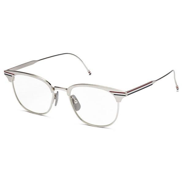 cd39984d9927 トムブラウン THOM BROWNE. 眼鏡 メガネ ウェリントン TB-104-B SLV シルバー HOYA伊達レンズ使用 スクエア トリコロール  めがねフレーム チタン 送料無料
