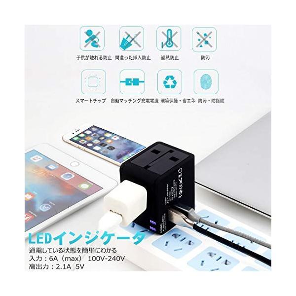 海外旅行 出張 変換アダプター 変換プラグ 急速充電 アダプタ 海外用コンセント 2個USBポート USB充電器 A・BF・C・O・SEタイプセット|global-work|02