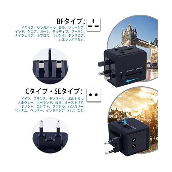 海外旅行 出張 変換アダプター 変換プラグ 急速充電 アダプタ 海外用コンセント 2個USBポート USB充電器 A・BF・C・O・SEタイプセット|global-work|04