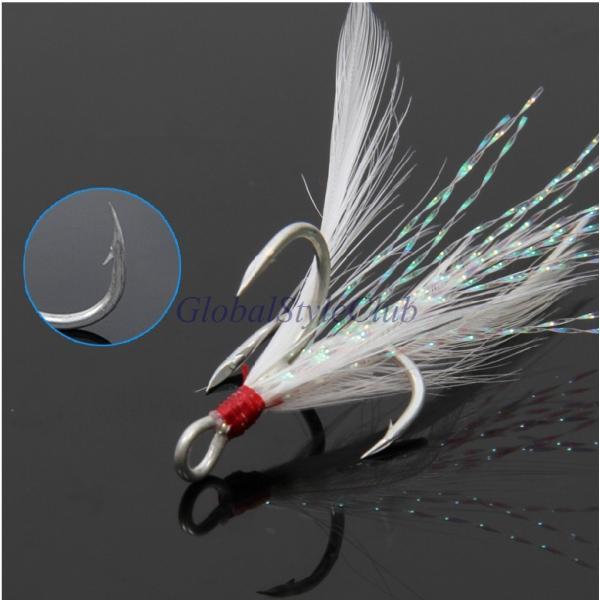 20ピース/ロット羽フック魚ルアー餌釣りトレブルフック釣りアクセサリー