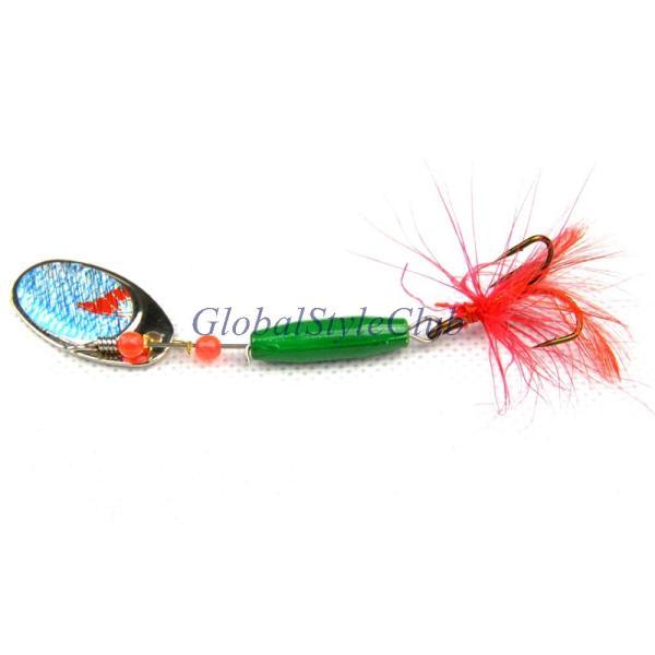 1ピース金属スプーン8センチ7.8グラム6色人工スピナー餌フライ釣りルアースプーン鯉海低音補強トレブルフックフェザー