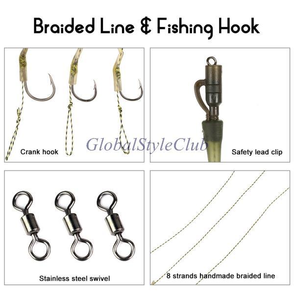 鯉釣り髪リグ編組糸曲線シャンク釣りフック付きライン鯉リグ釣りアクセサリー