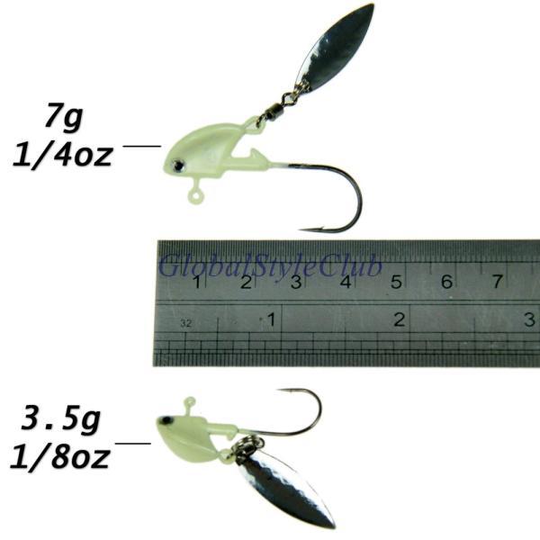 10ピースグロー釣りジグスプーンスピナー柳刃3.5グラム7グラム10グラム14グラム発光リード魚ジグヘッド釣りハード餌