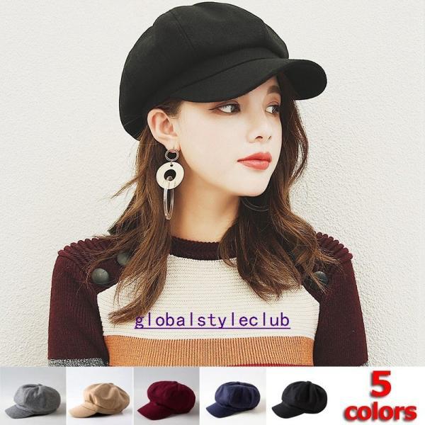 キャスケットキャップ帽子ハンチング帽レディースつば付き秋冬無地小顔効果カジュアルワークキャップ防寒対策