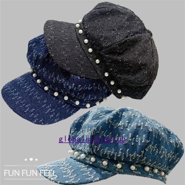 帽子レディースキャスケット秋冬春大きいサイズつば広UVカット日よけ紫外線対策大人日焼け止め小顔効果通勤ベレー帽ハンチングパール付