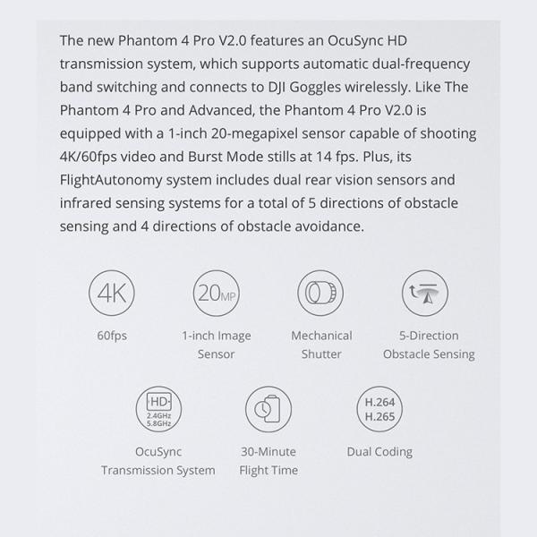 【国内正規品】PHANTOM 4 PRO V2.0 ファントム4 プロ ドローン DJI 4K P4 映画 4km対応 カメラ ビデオ 空撮 ActiveTrack ノイズ低減 4dB 5方向障害物検知|glock|04