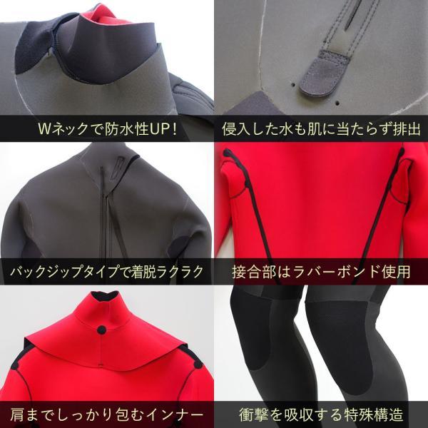 セミドライスーツ ウェットスーツ 5/3mm 保温起毛 防水インナー 日本規格  セミドライ ウェットスーツ サーフィン|go-island|04