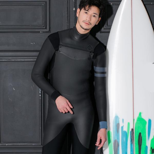 ウェットスーツ セミドライチェストジップ メンズ FELLOW 5×3mm スキン 冬用 サーフィン JPSA 大きいサイズ go-island 12
