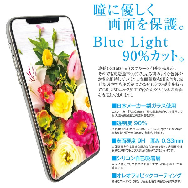 送料無料 ブルーライト カット 強化ガラス 保護フィルム iPhoneXS Max iPhoneXR  iPhone8 iPhoneX  iPhone7 iPhpne7 Plus iPhone6s Plus Xperia hogo-blue01|gochumon|06