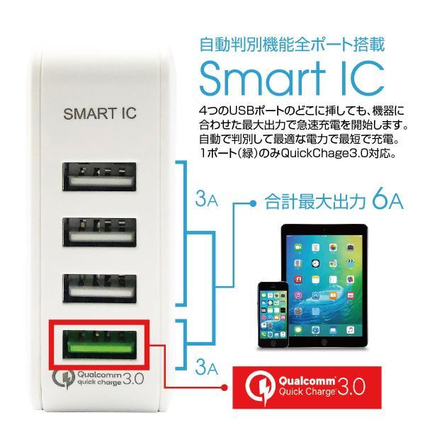 ACアダプター 4ポート USB 充電器 チャージャー PSE認証 USB充電器 6.0A 4口 コンセント Quick Charge 3.0 電源タップ  同時充電 アダプター iphone jiang-ac03|gochumon|05