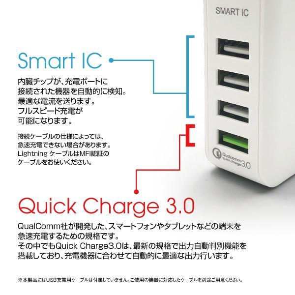 ACアダプター 4ポート USB 充電器 チャージャー PSE認証 USB充電器 6.0A 4口 コンセント Quick Charge 3.0 電源タップ  同時充電 アダプター iphone jiang-ac03|gochumon|06