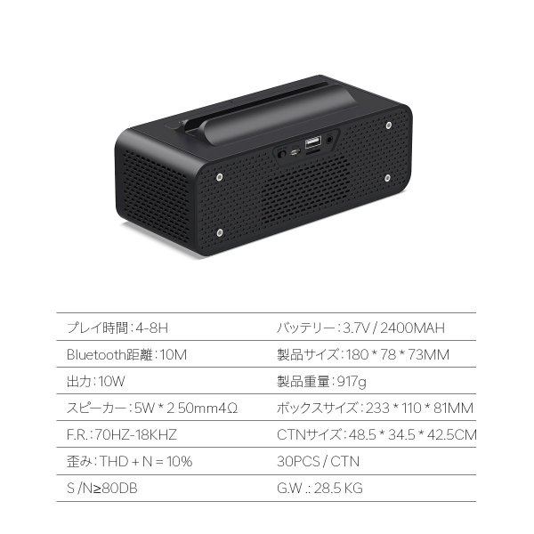 ワイヤレススピーカー Bluetooth スピーカー ワイヤレス 時計 スマートフォン おしゃれ 高音質 映画 ブルートゥース iPhone android 対応 oneder oneder-v06 gochumon 18