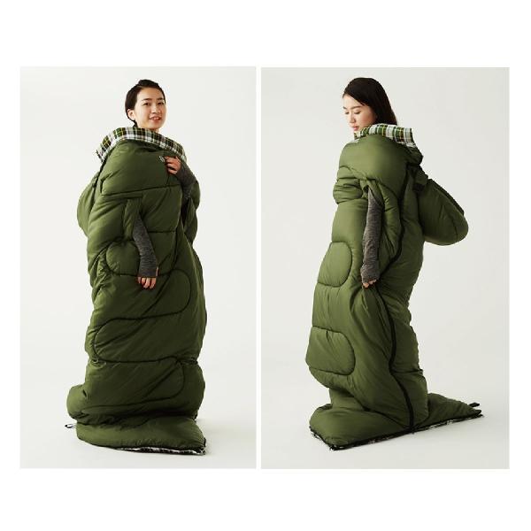 寝袋 洗える 手が出せる ねぶくろ 枕付き コンパクト キャンプ マット かわいい sleep-bag|gochumon|18