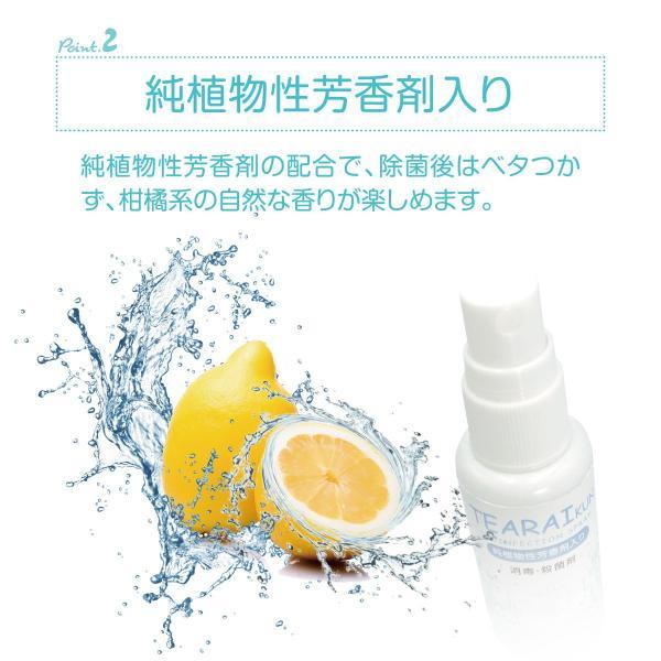 除菌 手 除菌剤 30ml 3本セット アルコール ウイルス対策 エタノール 75 純植物性 除菌消臭 スプレータイプ tearaikun-30|gochumon|05