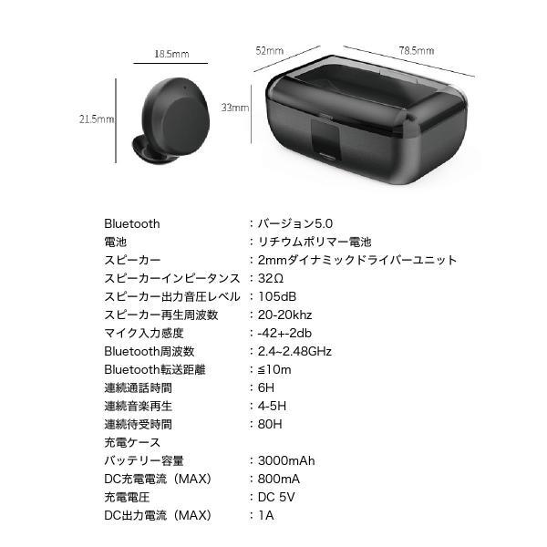 ワイヤレスイヤホン bluetooth5.0 両耳 スポーツ 防水 カナル型 イヤホン IPX8 両耳通話 片耳 ブルートゥース Siri対応 iphone android 対応 touch two-c3 gochumon 21