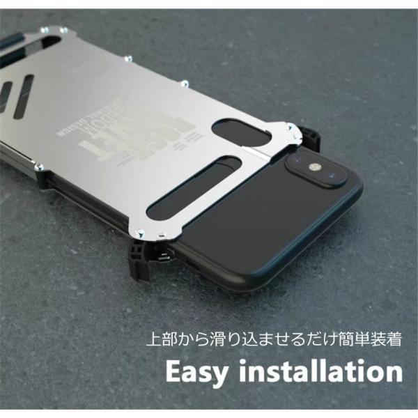 iPhone X ケース iPhoneXケース iPhoneX カバー スマホケース メタル アルミ かっこいい ロック シルバー ブラック メタルカラー 窓 窓付き 高級感 保護|goen-yahuu-ten|12