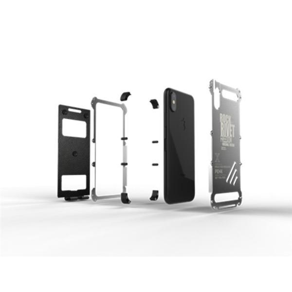 iPhone X ケース iPhoneXケース iPhoneX カバー スマホケース メタル アルミ かっこいい ロック シルバー ブラック メタルカラー 窓 窓付き 高級感 保護|goen-yahuu-ten|03
