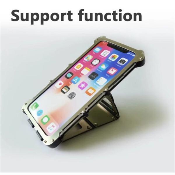 iPhone X ケース iPhoneXケース iPhoneX カバー スマホケース メタル アルミ かっこいい ロック シルバー ブラック メタルカラー 窓 窓付き 高級感 保護|goen-yahuu-ten|04