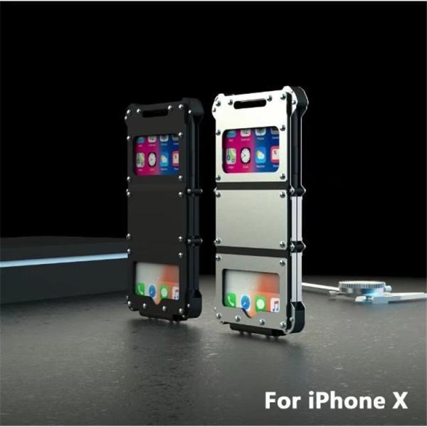 iPhone X ケース iPhoneXケース iPhoneX カバー スマホケース メタル アルミ かっこいい ロック シルバー ブラック メタルカラー 窓 窓付き 高級感 保護|goen-yahuu-ten|08