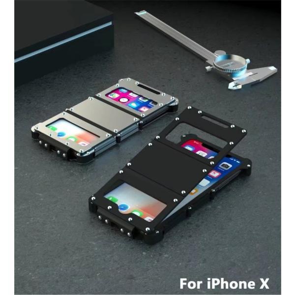 iPhone X ケース iPhoneXケース iPhoneX カバー スマホケース メタル アルミ かっこいい ロック シルバー ブラック メタルカラー 窓 窓付き 高級感 保護|goen-yahuu-ten|09