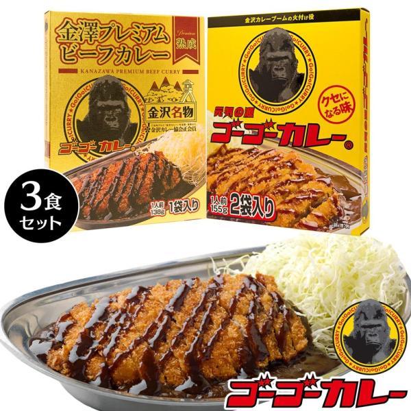 ゴーゴーカレー レトルト 中辛 & 金澤プレミアムビーフカレー 3食 セット メール便|gogo-curry
