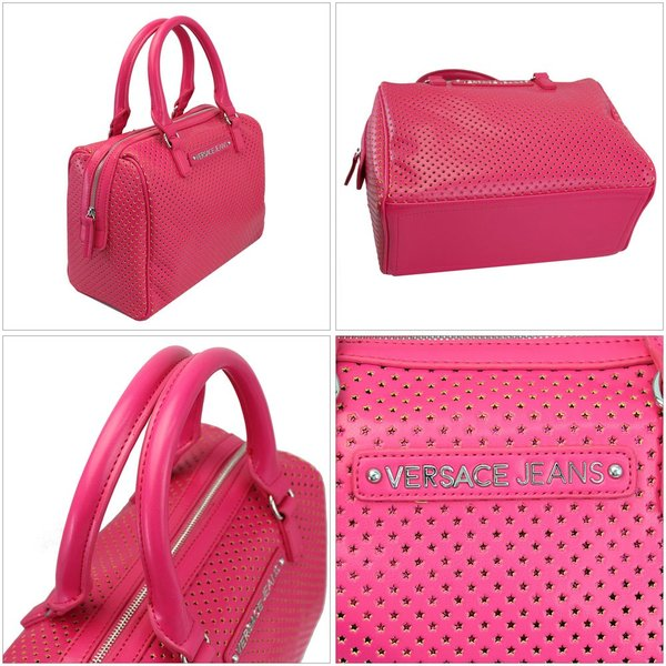 ヴェルサーチジーンズ ハンドバッグ ショルダーストラップ付き ピンク E1HLBB15-3401 新品