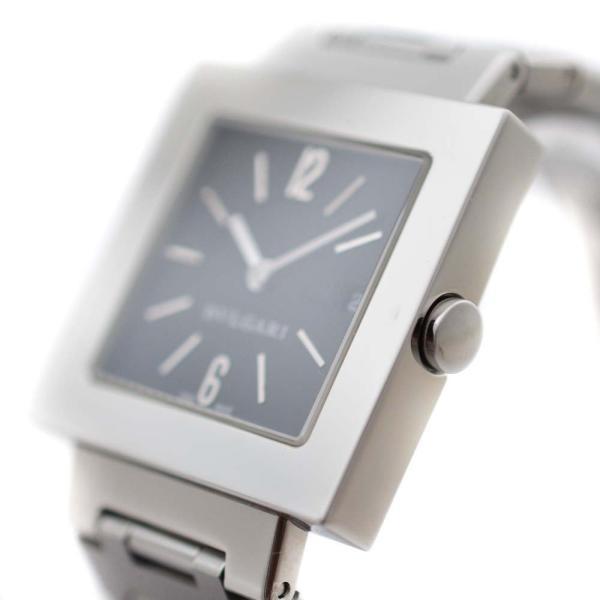 ブルガリ クアドラード 腕時計 レディース クオーツ ブラック文字盤 シルバー SQ27SSD 中古 送料無料 BVLGARI