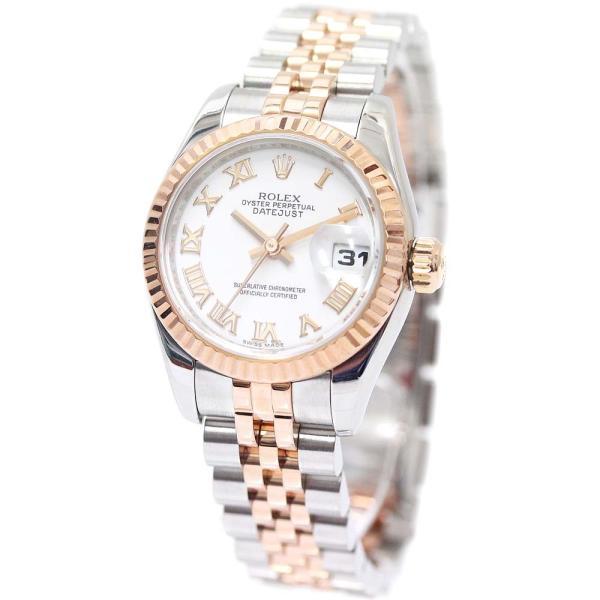 新品仕上げ済みロレックスデイトジャスト腕時計レディース自動巻きホワイト文字盤シルバーピンクゴールド179171/V番中古ROLE